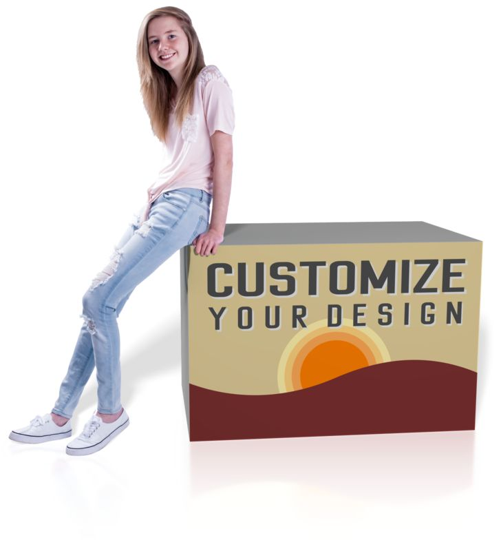 A teenage girl leans on a cube with your custom design on the front.