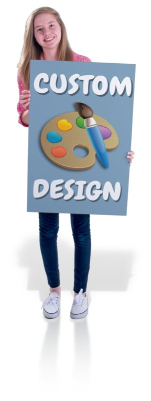 This Presentation Clipart shows a preview of Teen Girl Hold Sign Custom