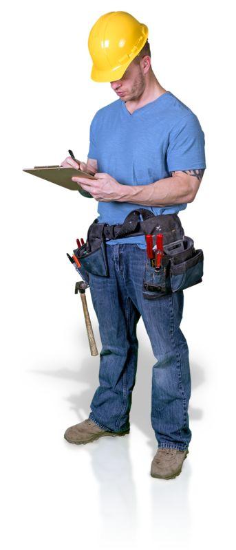 Clipart - Construction Man Write Clipboard