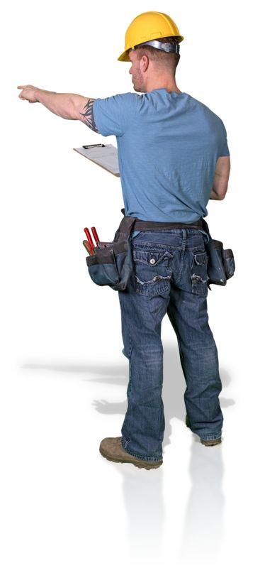 Clipart - Construction Man Clipboard Point