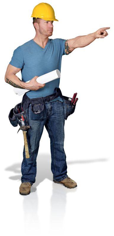 Clipart - Construction Man Blueprint Point