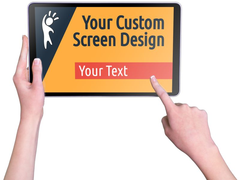 This Presentation Clipart shows a preview of Hands Touch Tablet Female Custom