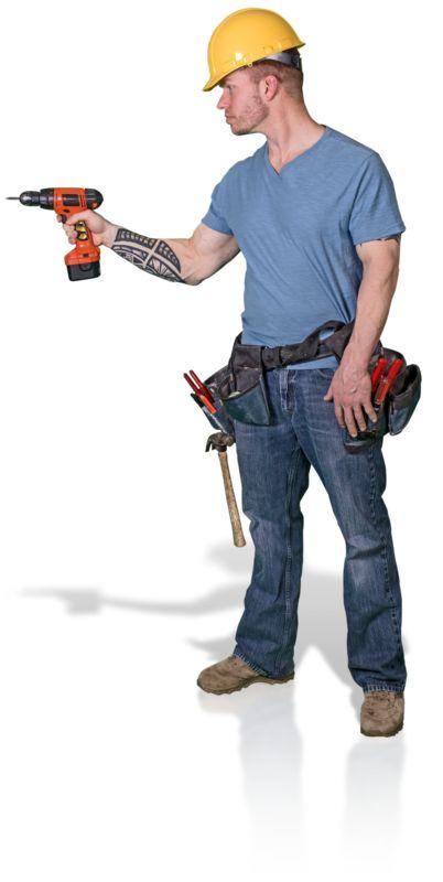 Clipart - Construction Man Screw Gun Side
