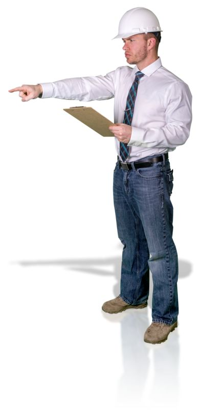 Clipart - Foreman Pointing With Clipboard
