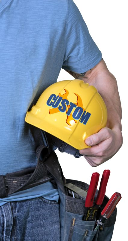 This Presentation Clipart shows a preview of Construction Guy Hard Hat Custom