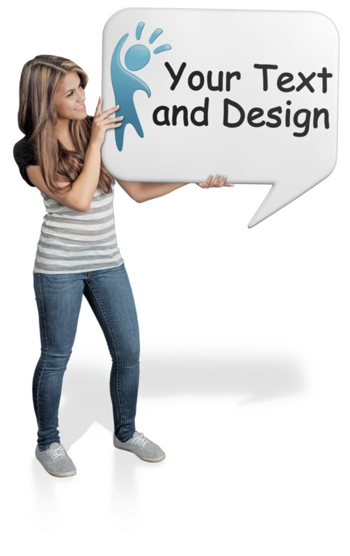 This Presentation Clipart shows a preview of Young Woman Hold Word Balloon