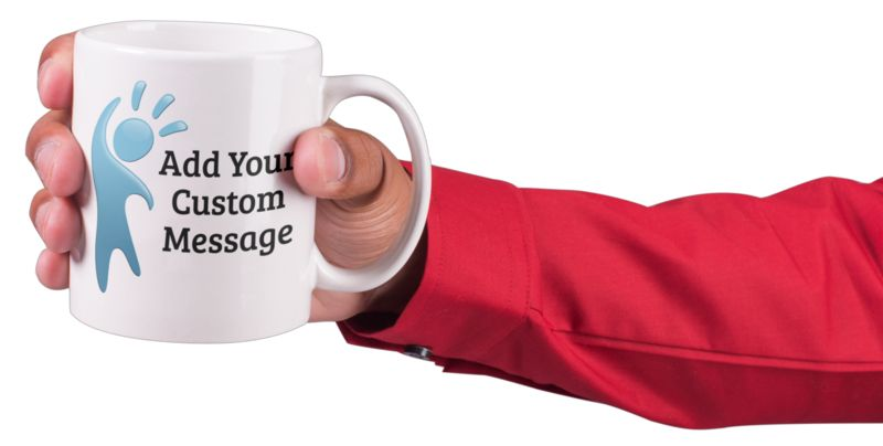 This Presentation Clipart shows a preview of Hand Hold Coffee Mug Custom