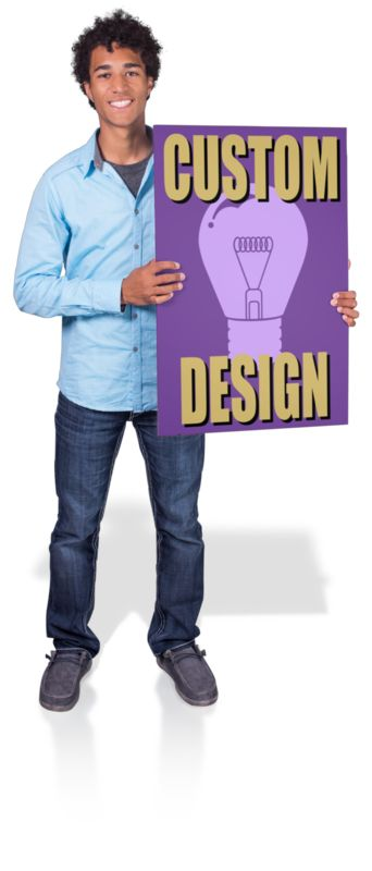 This Presentation Clipart shows a preview of Young Man Hold Sign