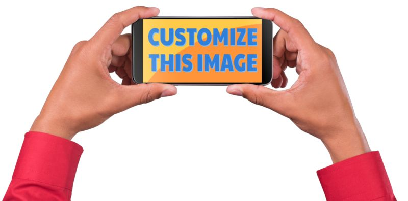 This Presentation Clipart shows a preview of Man Hold Smart Phone Custom