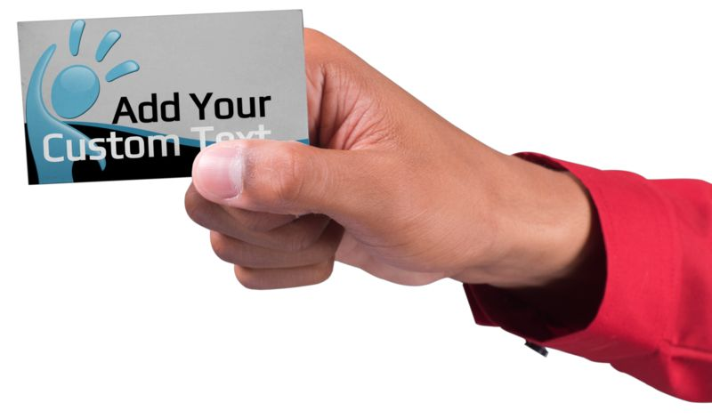 This Presentation Clipart shows a preview of Male Hand Business Card Custom