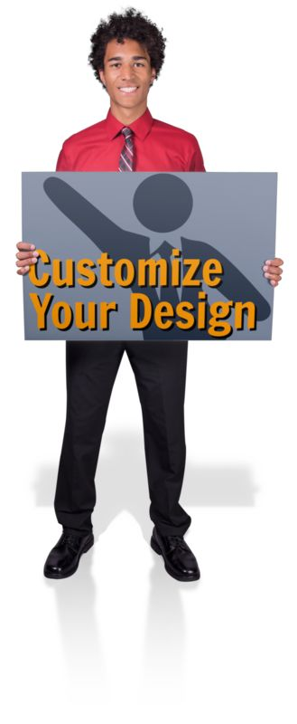 This Presentation Clipart shows a preview of Young Business Man Hold Sign