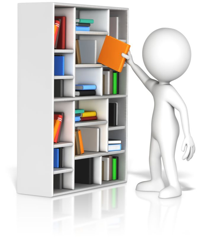 Clipart - Figure Pulling Book From Shelf