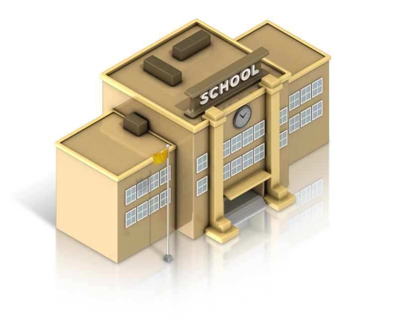 Clipart - School Building Isometric