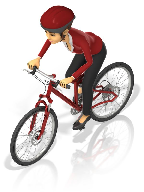 Clipart - Business Woman Bicycle