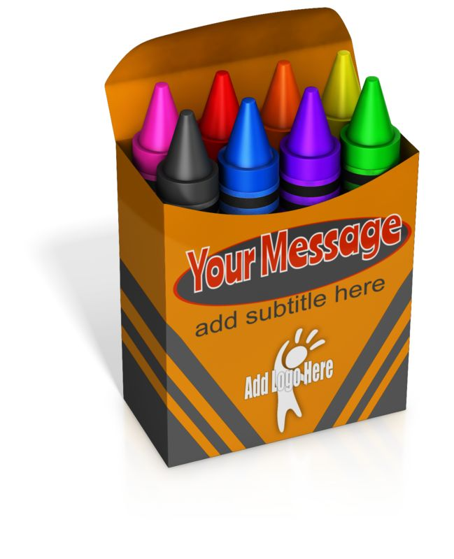 This Presentation Clipart shows a preview of Custom Colored Crayons Box