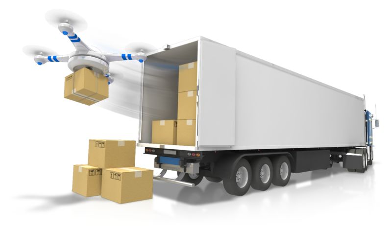 Clipart - Semi With Drone Delivery