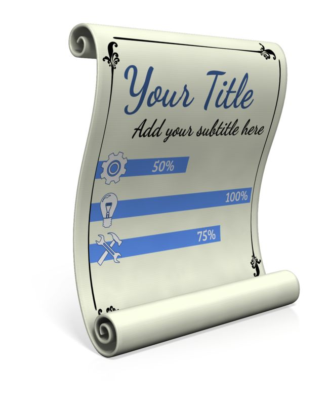 This custom design clip art shows a scroll which you customize by adding your own text and images too.