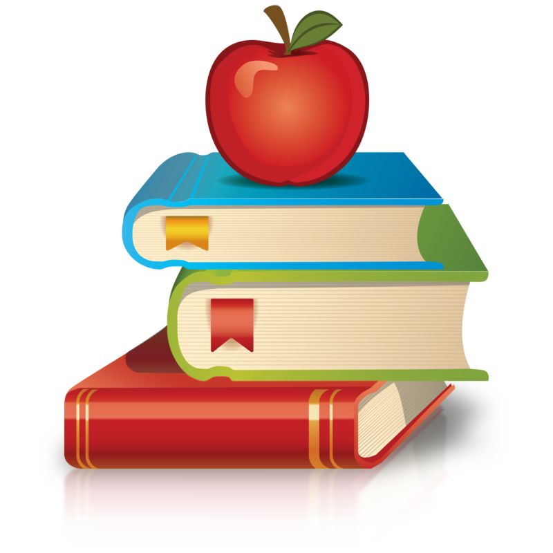 Clipart - Stack Of Books Apple