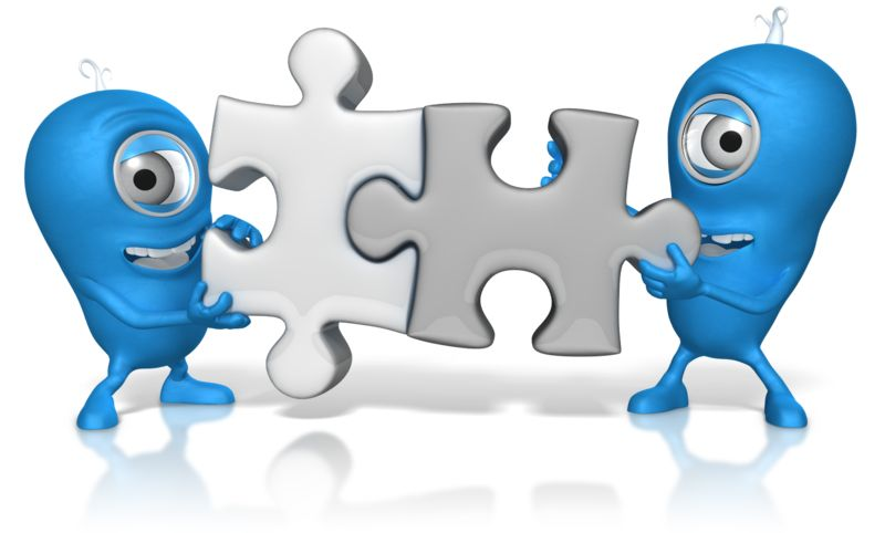 Clipart - Characters Put Puzzle Pieces Together