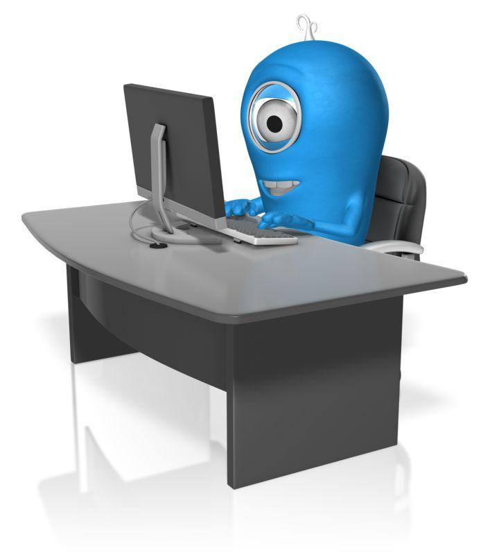 Clipart - Character At Computer