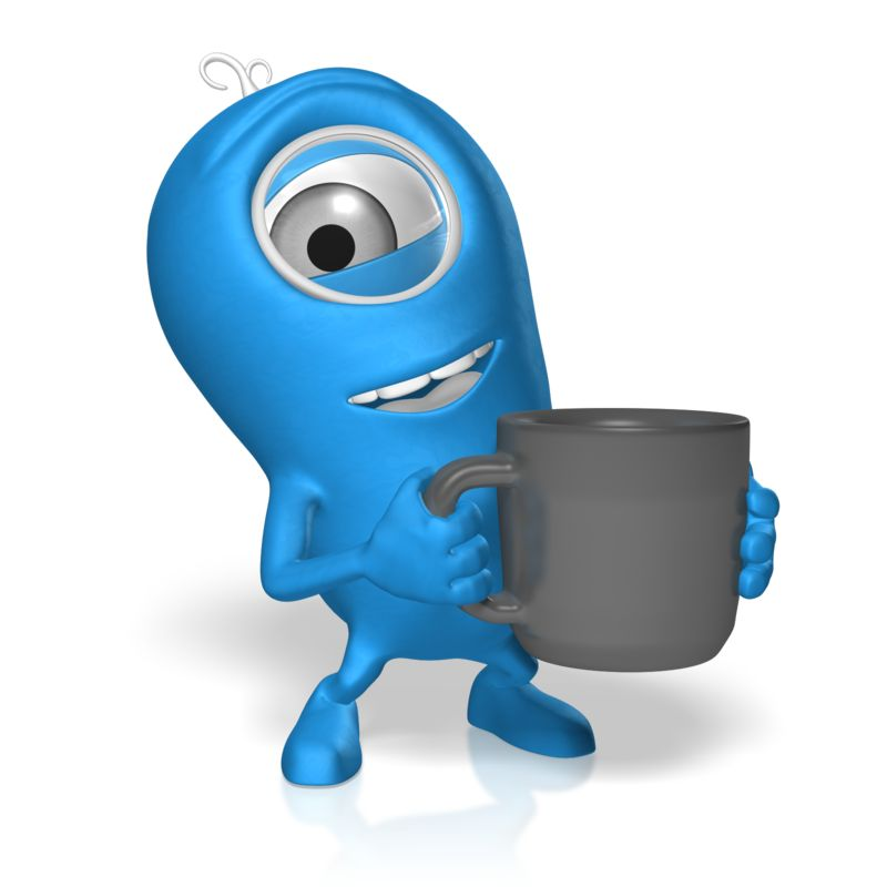 Clipart - Character With Coffee