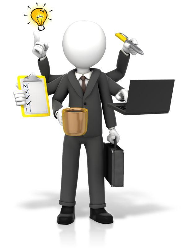 Clipart - Businessman Multi Tasking