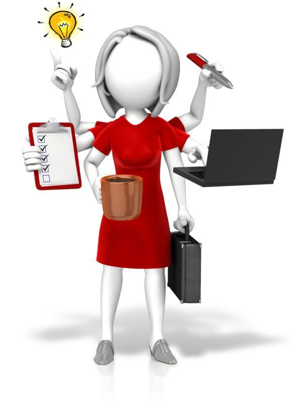 Clipart - Businesswoman Multi Tasking