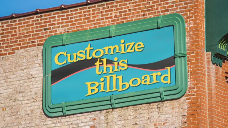 This Presentation Clipart shows a preview of Old Billboard On Brick Wall Custom