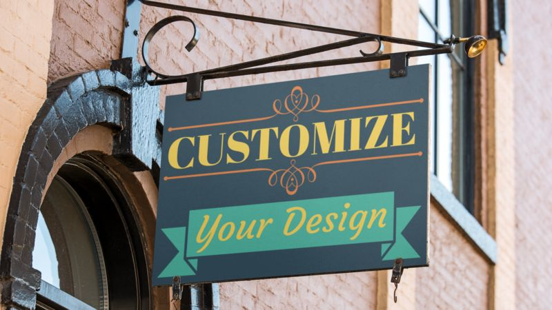 This Presentation Clipart shows a preview of Retro Hanging Sign Custom