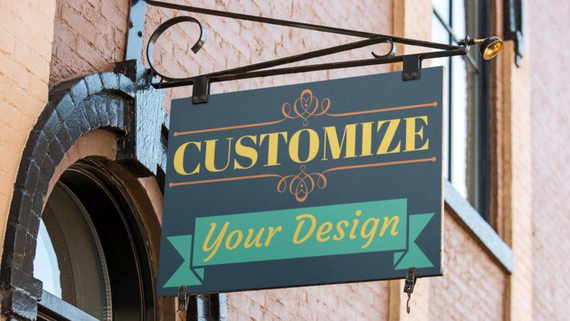 Put your own custom design on this retro retail sign.