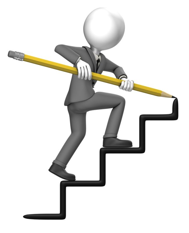Clipart - Business Man Draw Stairs