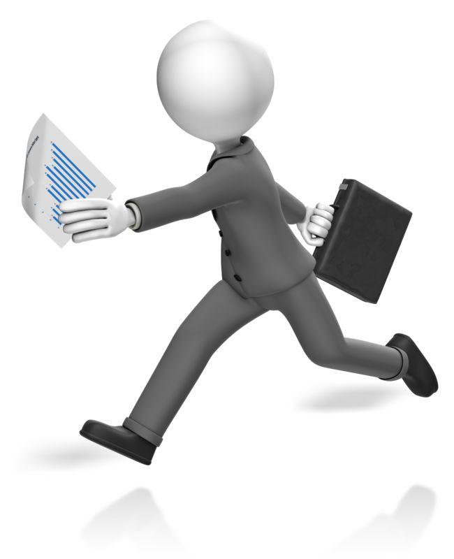 Clipart - Businessman Run Paperwork