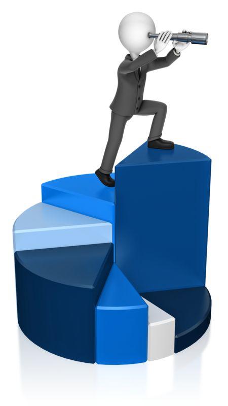 Clipart - Businessman Chart Spyglass