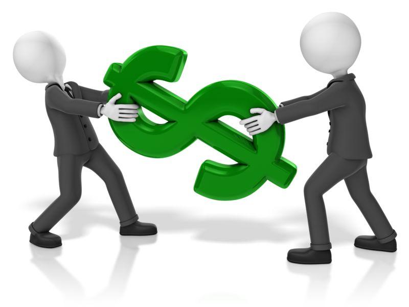 Clipart - Businessmen Pull Dollar