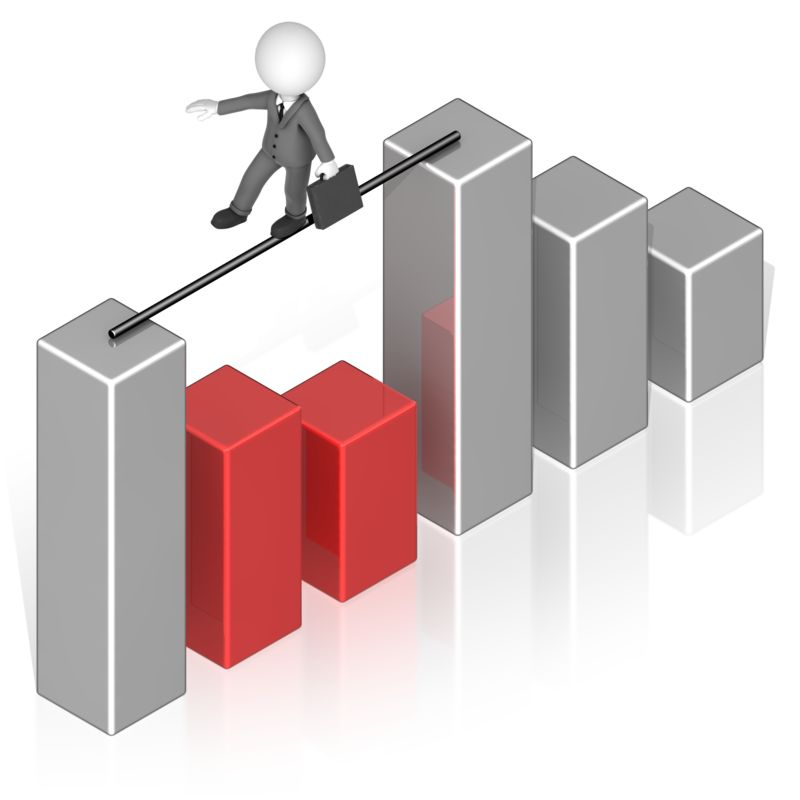 Clipart - Business Man Tightrope Graph