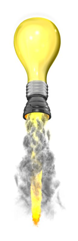 Clipart - Light Blub Idea Rocket