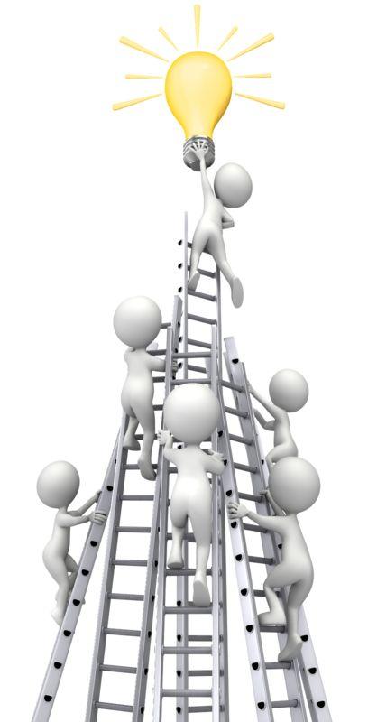 Clipart - Figures Race Ladders To Idea Light Bulb