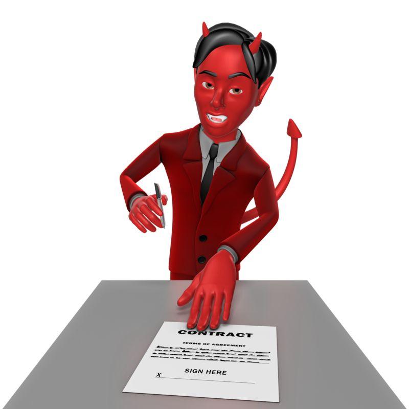 Clipart - Devil Sign Contract