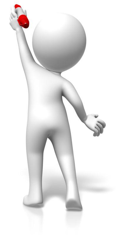 Clipart - Figure Reaching Up Pen