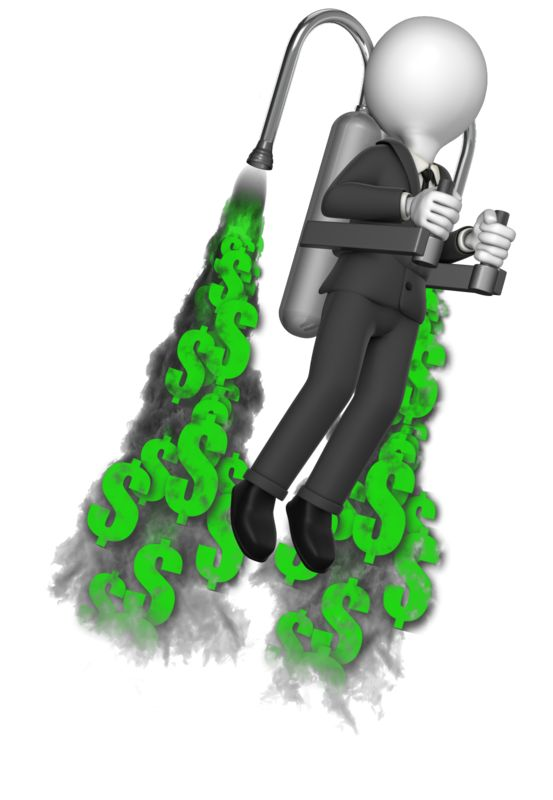 This Presentation Clipart shows a preview of Businessman Custom Thrust Jetpack