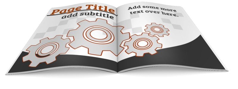 This custom design illustration shows a magazine booklet open.  You can customize the pages by adding your own text and images using our online customizer.