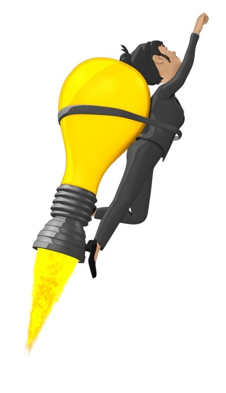 Clipart - Businesswoman Flying On Idea Lightbulb