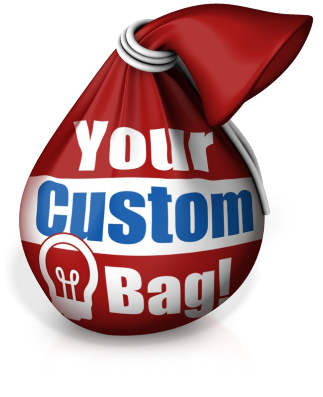 This custom design clip art image shows a tied bag.  You can customize this by adding your own text and images using its online customer.  <br><br> This image could display idioms such as: bag of tricks and in the bag.