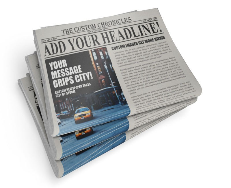 A stack of three newspaper can be customized with your own headlines and messages. You can upload your own images to place over the current design or just change the existing text area using our on-line tools.