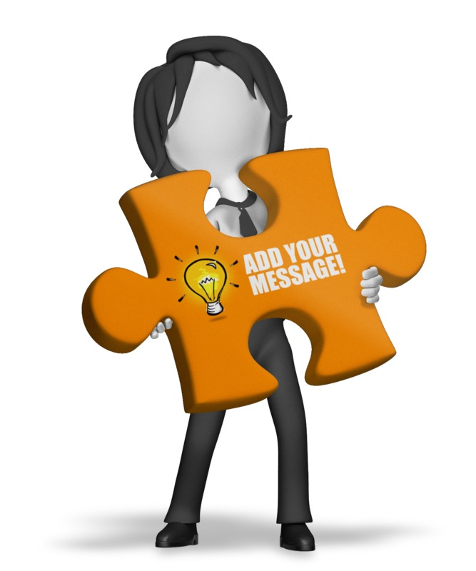 A businesswoman stands holding a large puzzle piece. You can change the message and logo on the piece by using our on-line tools.