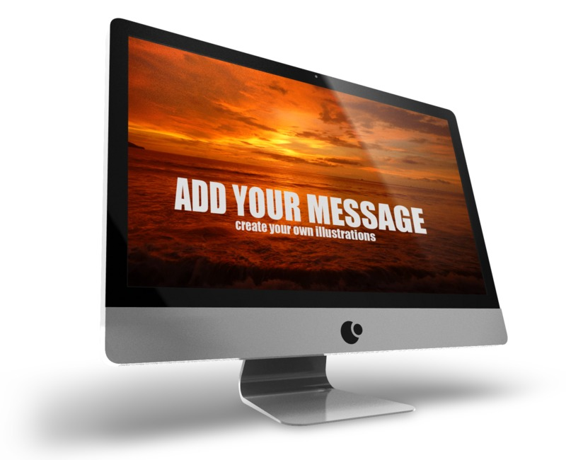 A mockup of a computer monitor. You may upload your own screen shot or simply change the text to display your own message using our on-line tools.