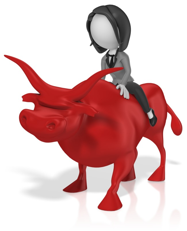 Clipart - Business Woman Ride Bull