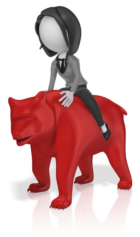 Clipart - Business Woman Ride Bear