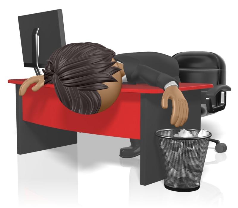 Clipart - Businessman Slump Desk