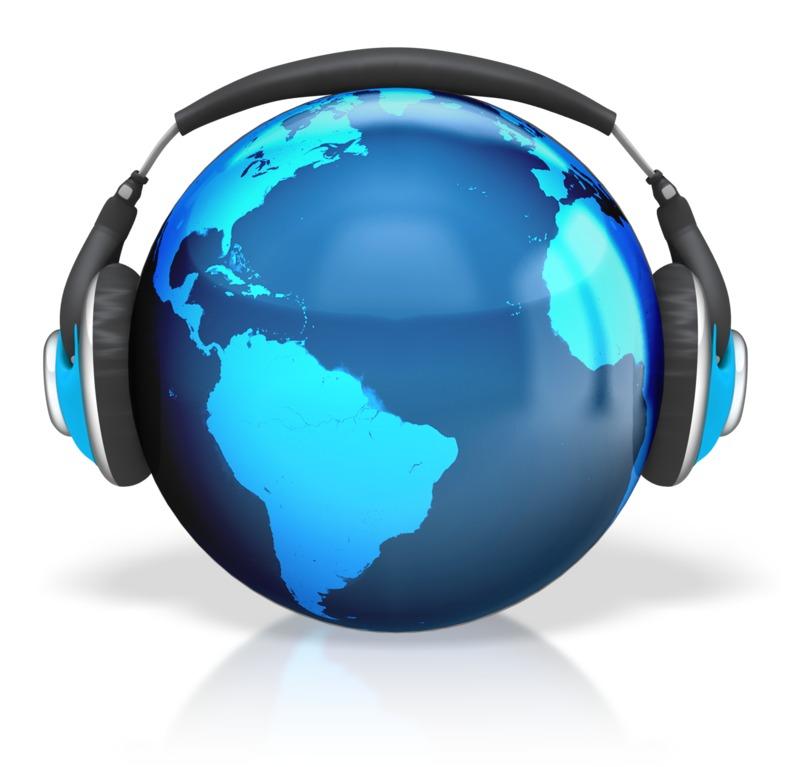 Clipart - Headphones Earth